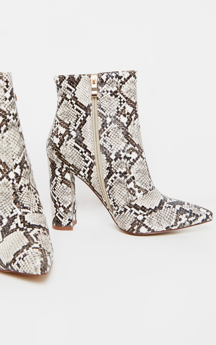 Snake High Block Heel Point Ankle Boot 3