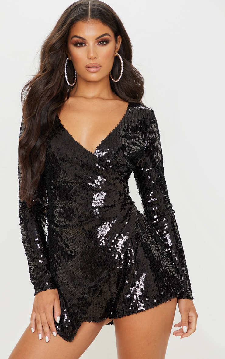Black Sequin Long Sleeve Wrap Playsuit 1