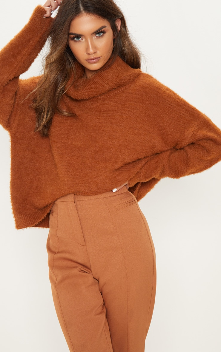 Brown High Neck Eyelash Knitted Jumper 4