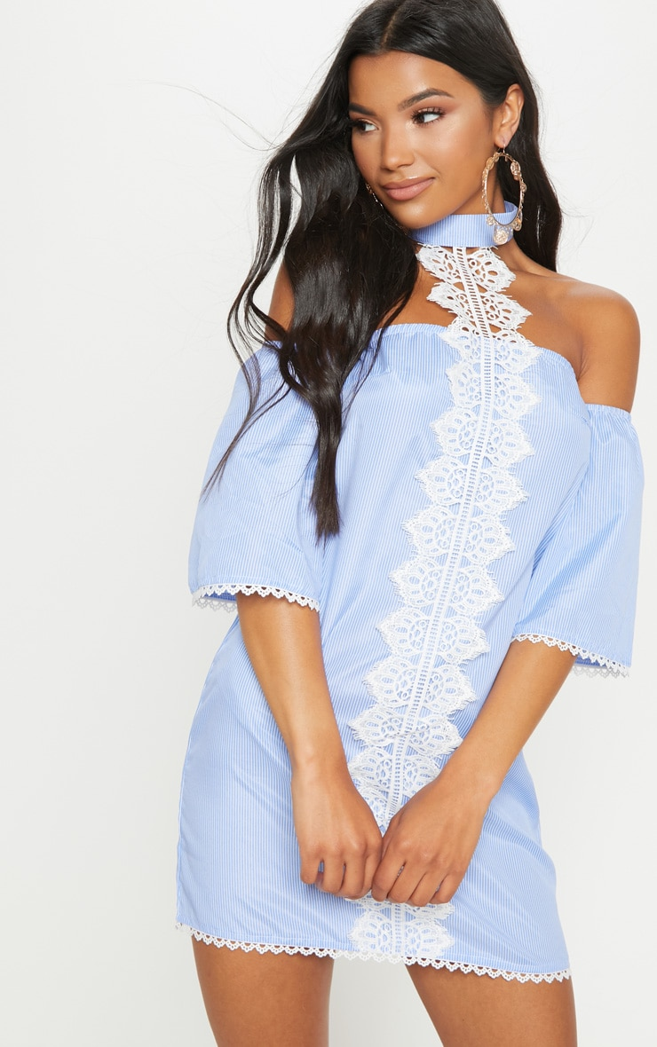 Blue Stripe Lace Trim Shift Dress 1