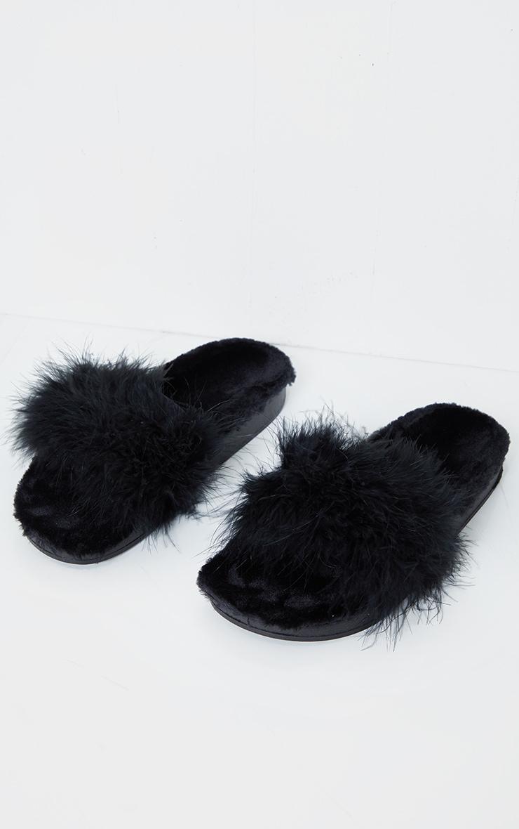 Black Feather Strap Faux Fur Flatform Sliders 2
