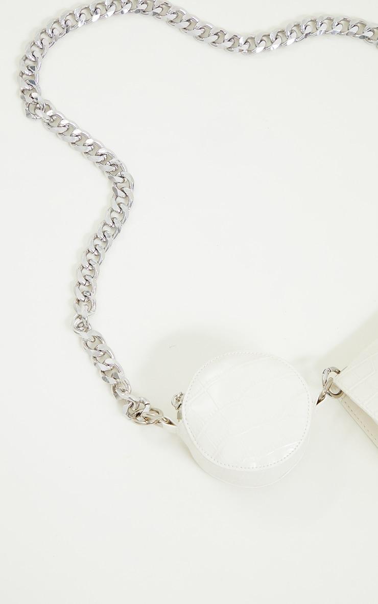 White  Croc Multi Pocket Chunky Chain Cross Body Bag 4