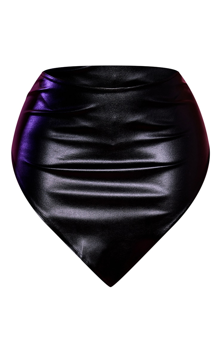 Shape Black PU Curved Hem Bodycon Skirt 6