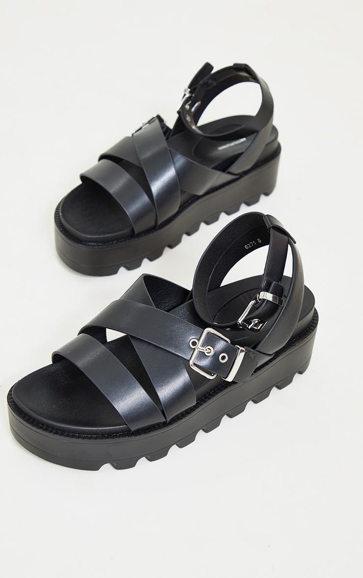 Black Cleated Flatform Gladiator Sandals 4