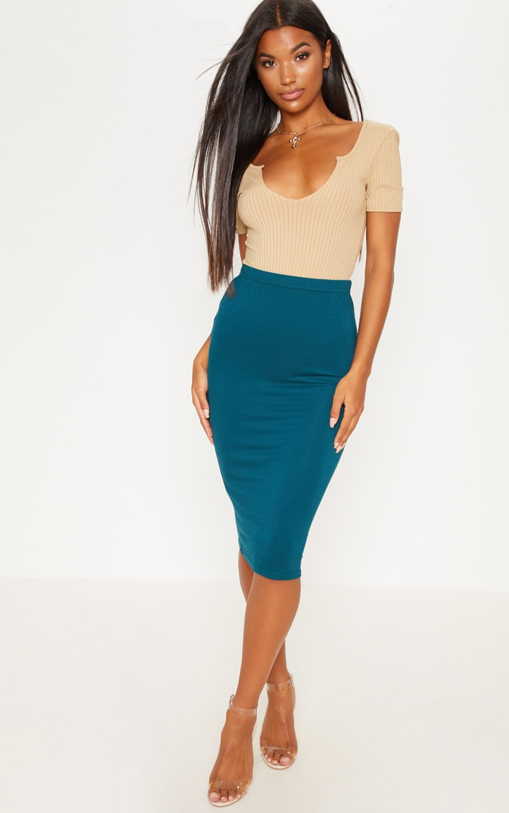 Teal Basic Midi Skirt