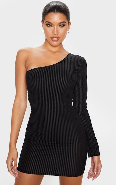 Black Velvet Rib One Shoulder Bodycon Dress