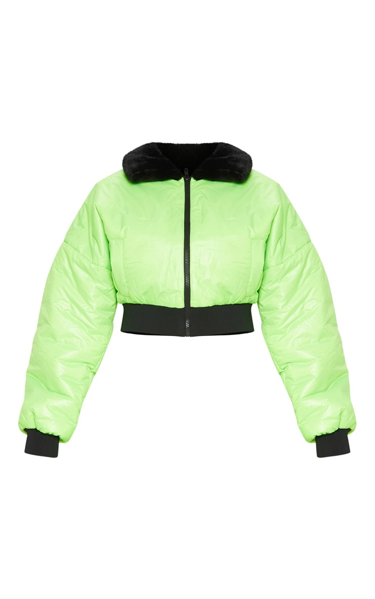 Lime Faux Fur Collar Cropped Puffer  4