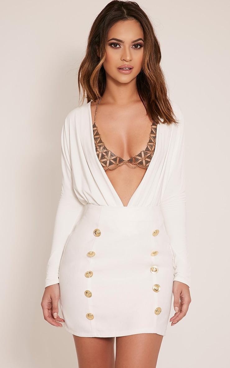 Bette White Button Detail Mini Skirt 1