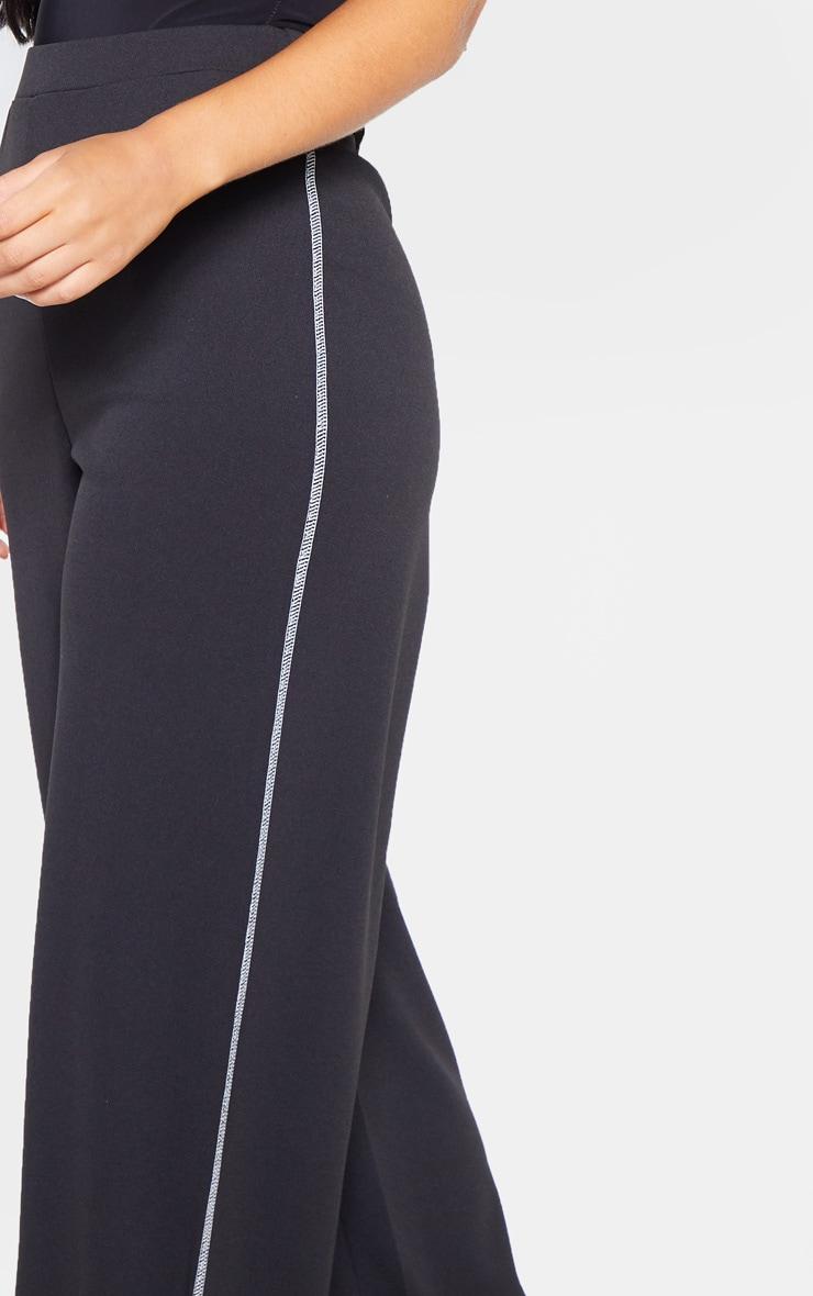 Black Crepe Contrast Stitch Wide Leg Pants 5