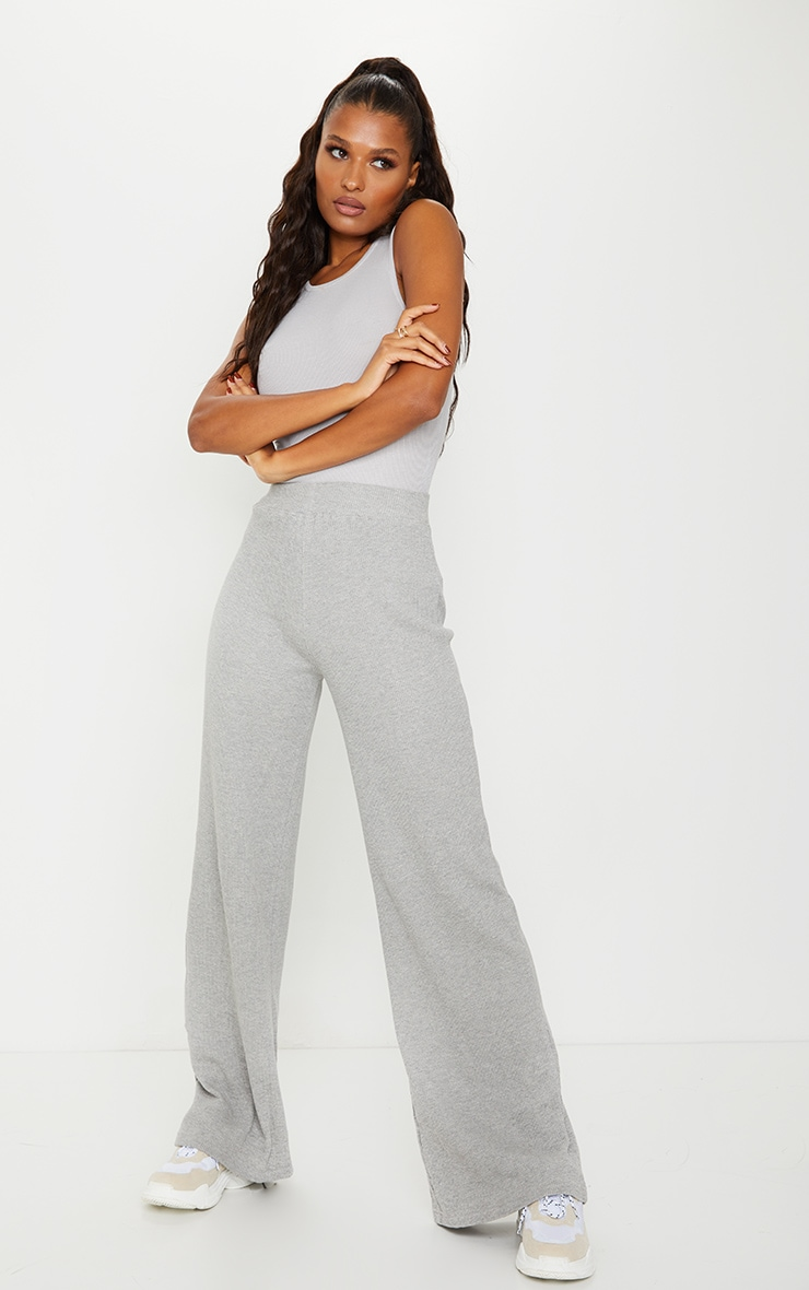 Grey Waffle Textured Wide Leg Trousers 1