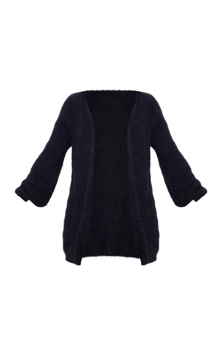 Black Fluffy Knit Oversized Cardigan 3