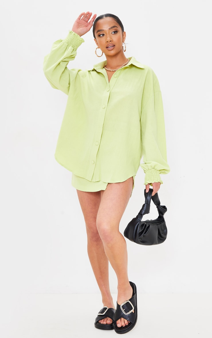 Petite Lime Oversized Shirred Cuff Linen Feel Shirt 3