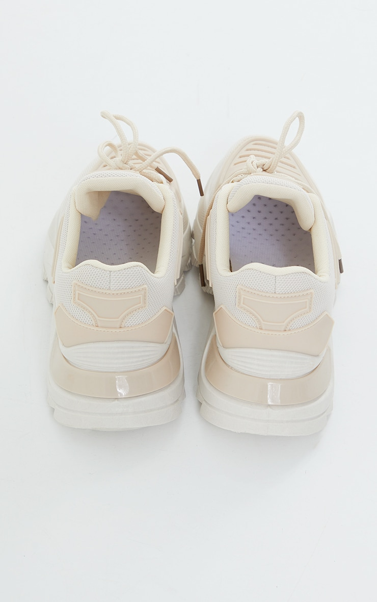 Beige Chunky Cleated Lace Up Sneakers 4