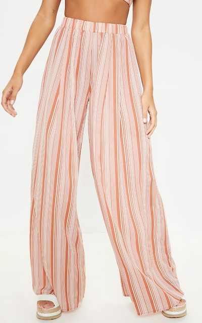 Rust Striped Wide Leg Trouser