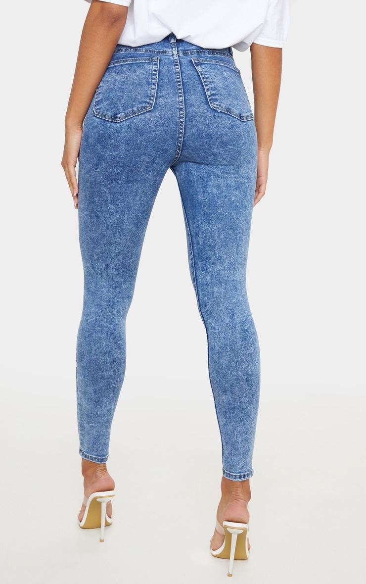PRETTYLITTLETHING Mid Blue Acid 5 Pocket Skinny Jeans 4