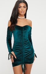 1902ff0945 Emerald Green Bardot Velvet Ruched Arm Ruched Front Bodycon Dress image 1
