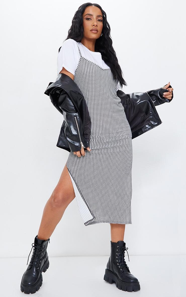 Black Dogtooth Print Jersey Split Cami Midi Dress 1