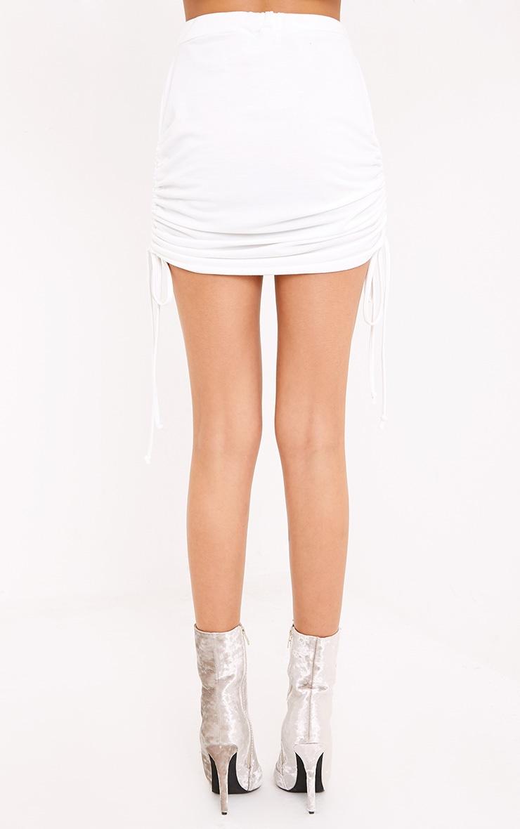 Achala Cream Side Ruched Sweat Mini Skirt  4