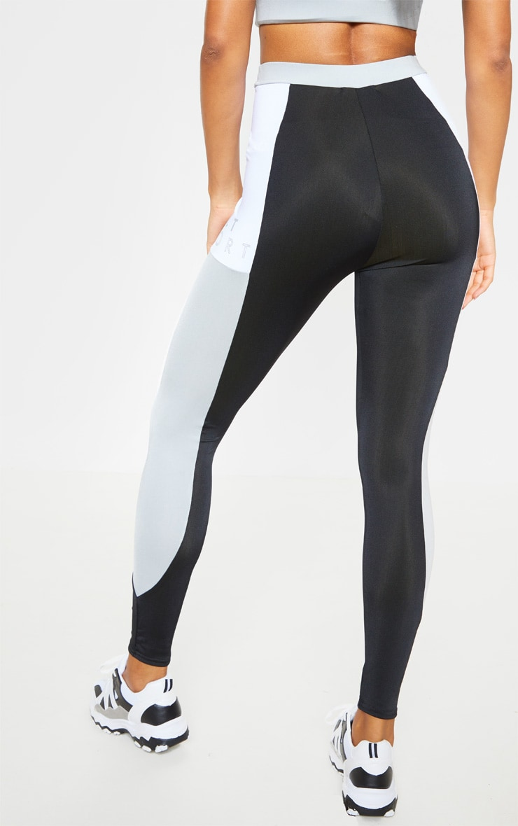 PRETTYLITTLETHING Black Side Panel Gym Leggings 3