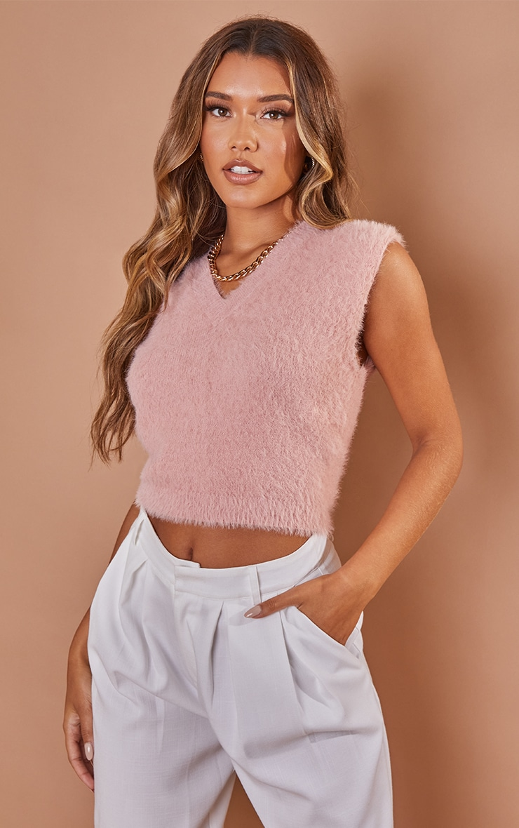 Pink Knitted Fluffy Vest 1