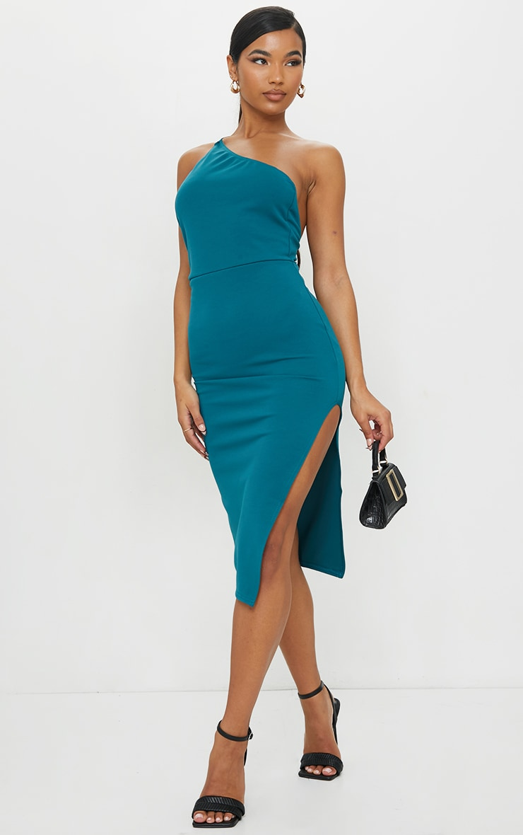 Emerald Green Strappy One Shoulder Midi Dress 1