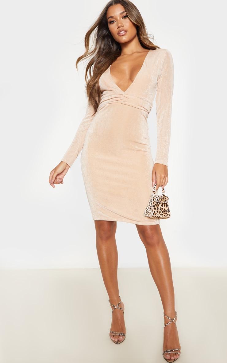 Champagne Textured Slinky Drape Sleeve Plunge Midi Dress 1