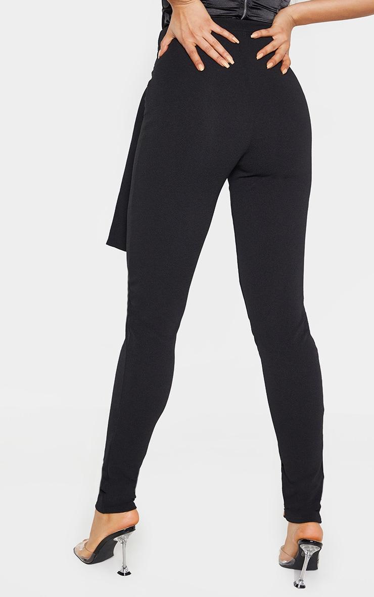 Tall Black Tie Detail Crepe Pants 4