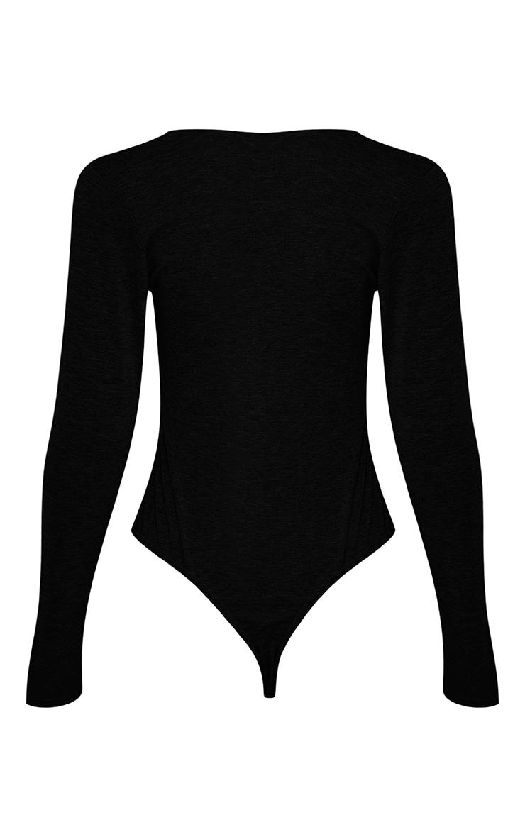 Nadie Black Plunge Jersey Bodysuit 4