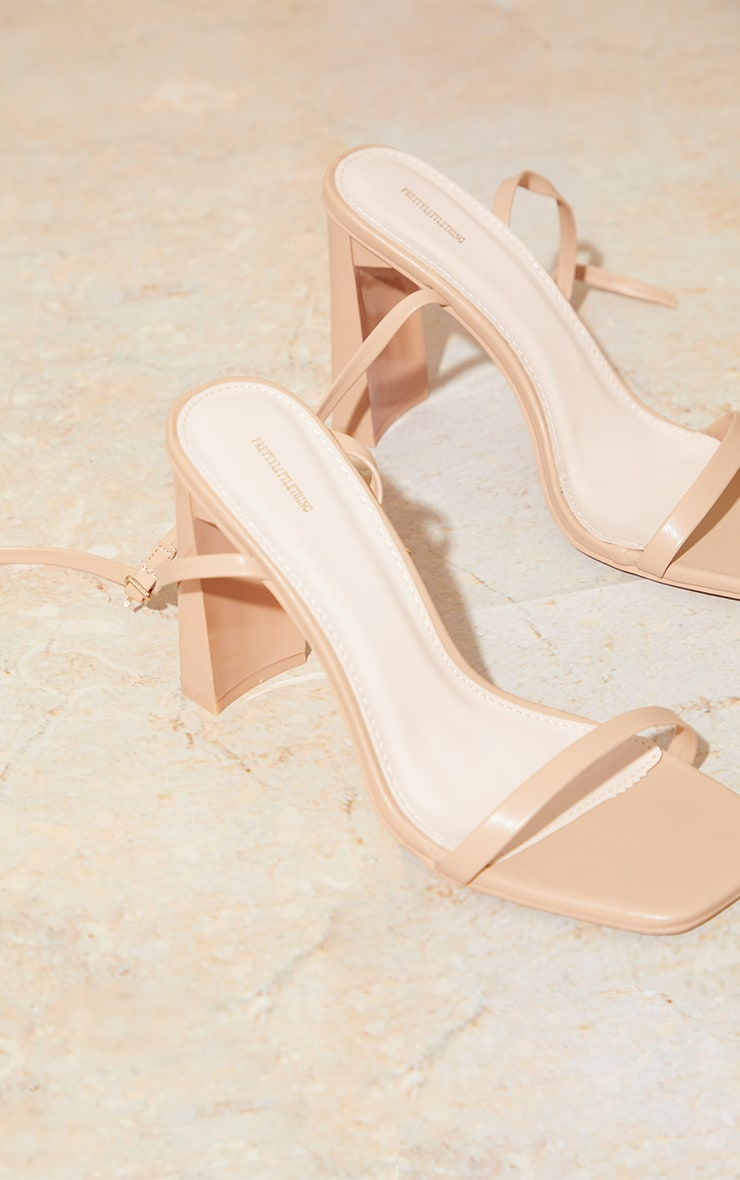 Nude PU Block Heel Barely There Sandals 3