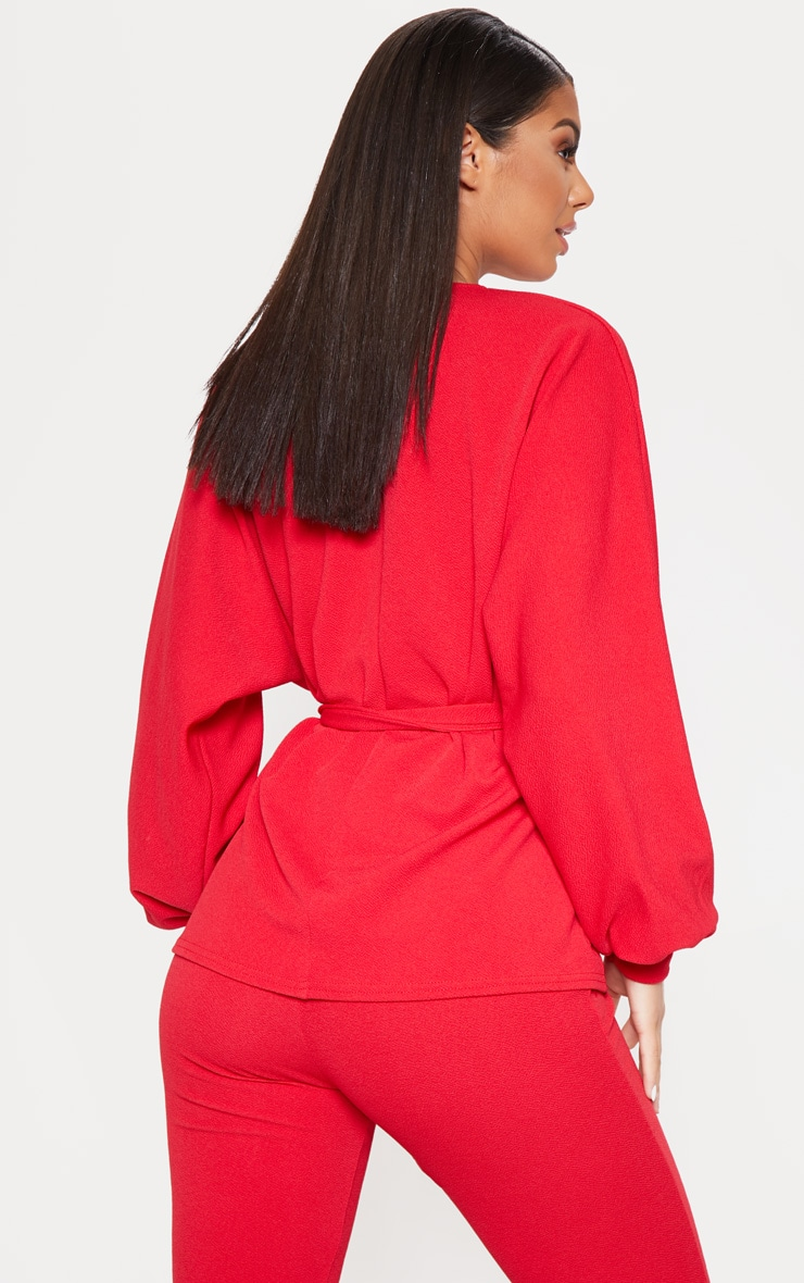 Red Oversized Sleeve Belted Blazer  2