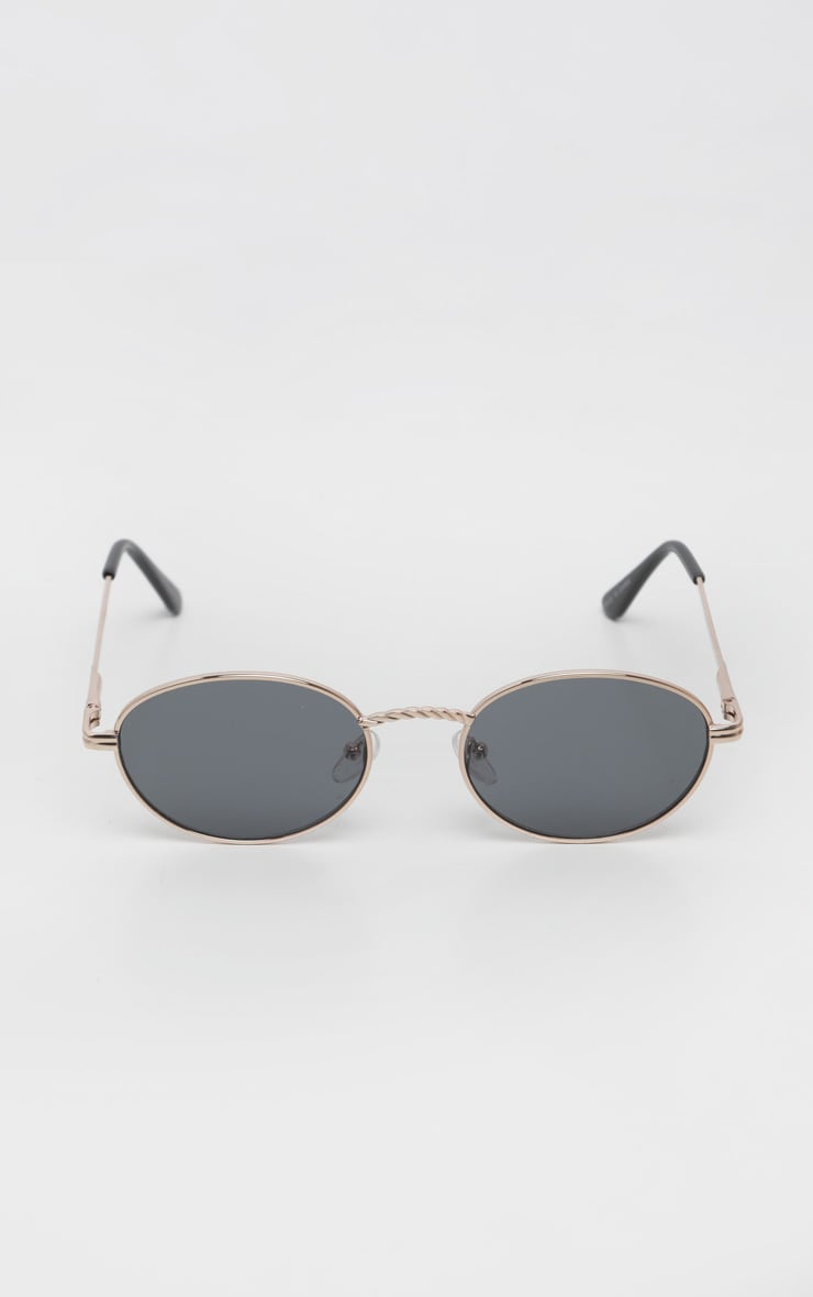 Black Oval Retro Style Sunglasses 2