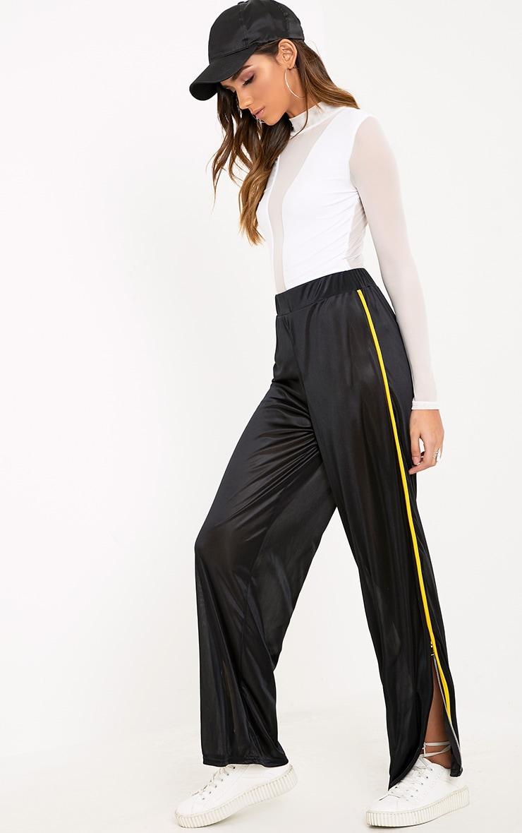 Karlotta Black Sheer Zip Wide Leg Track Pants 1