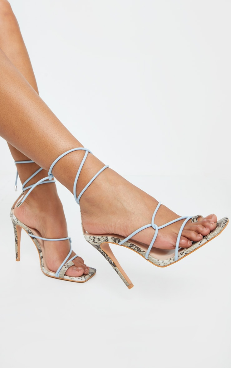 Blue Contrast Snake Square Toe Lace Up Strappy Top Loop Heeled Sandal 1