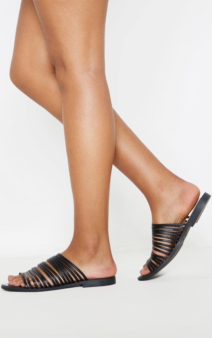 Black Strappy Mule Flat Sandal 2