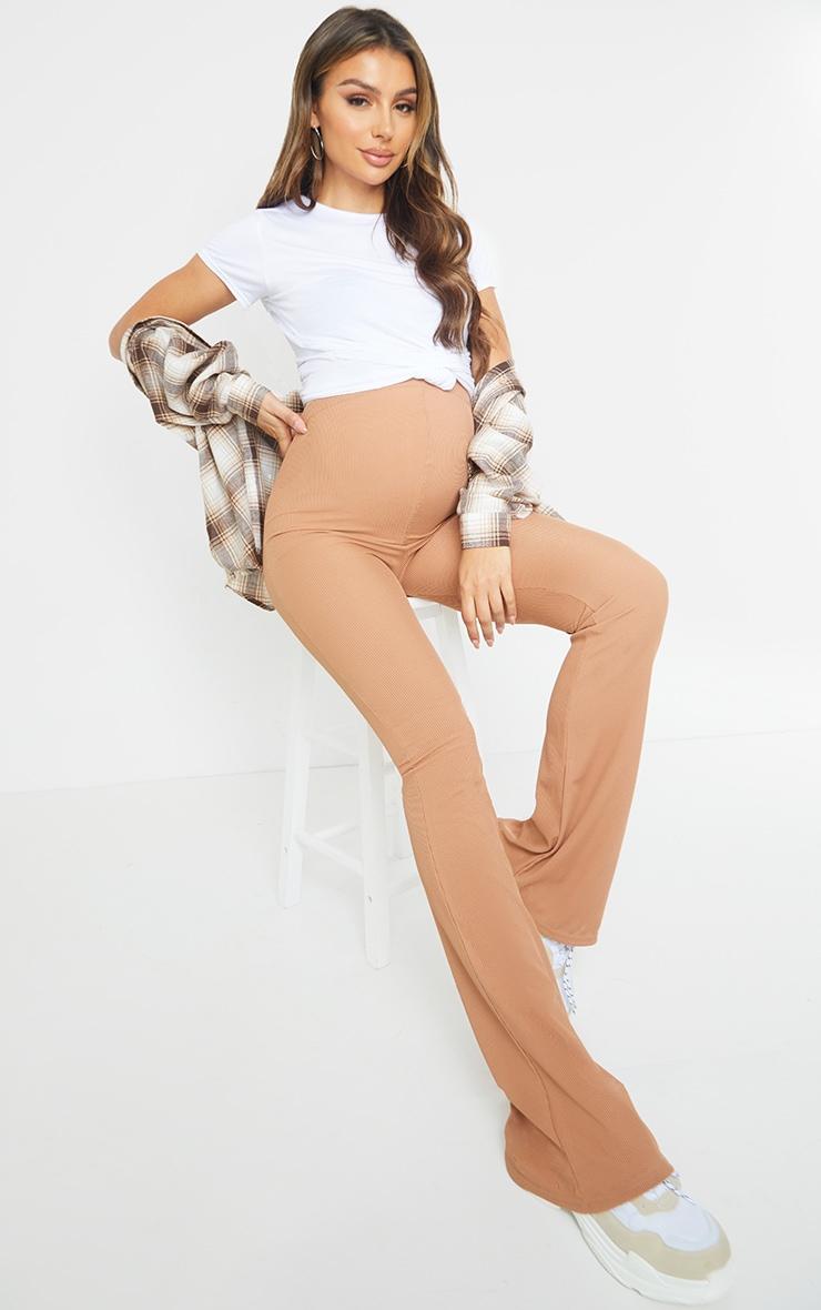 Maternity Camel Ribbed Flared Leggings 1