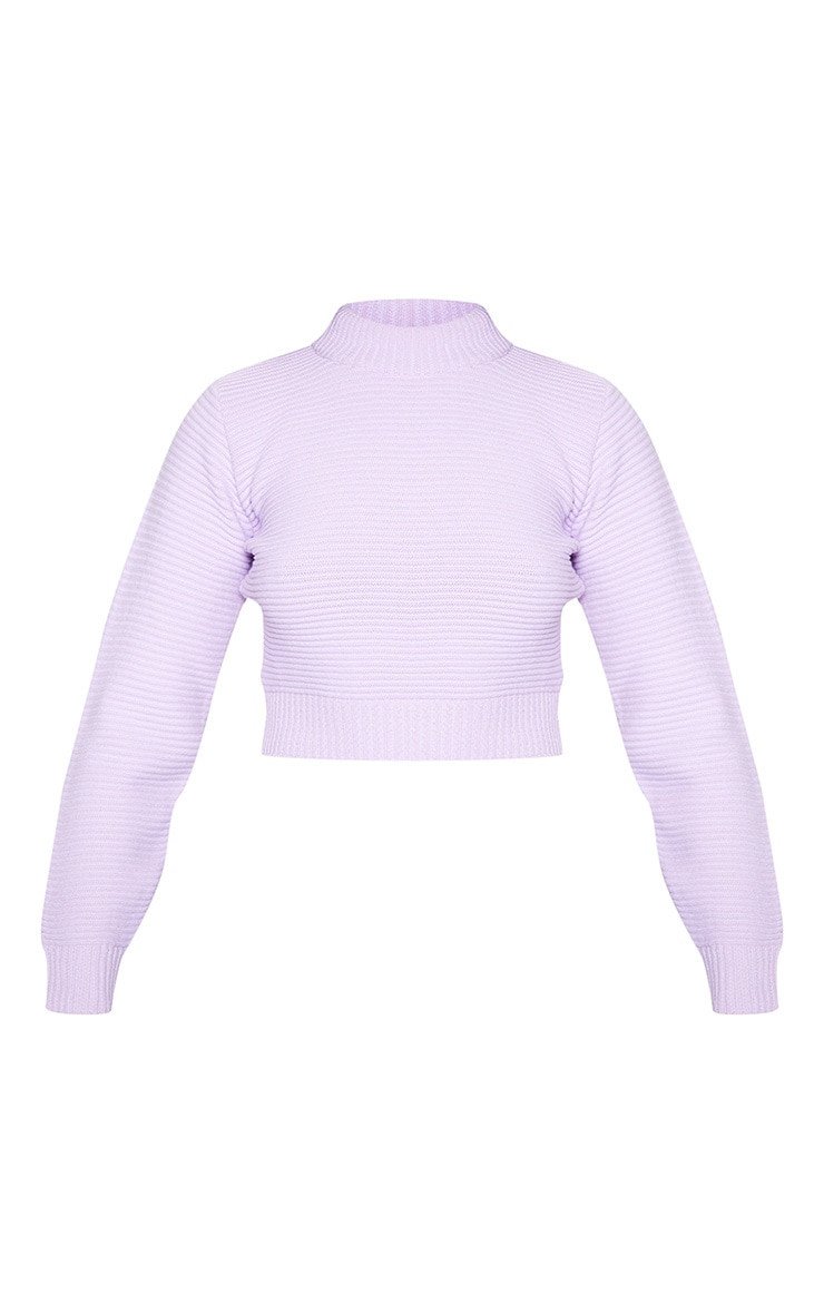 Lilac Ribbed Crop Knitted Jumper  3