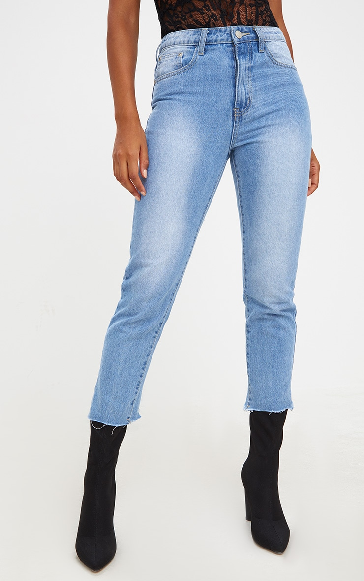 Mid Wash Extreme Back Distressed Rip Straight Leg Jean 2