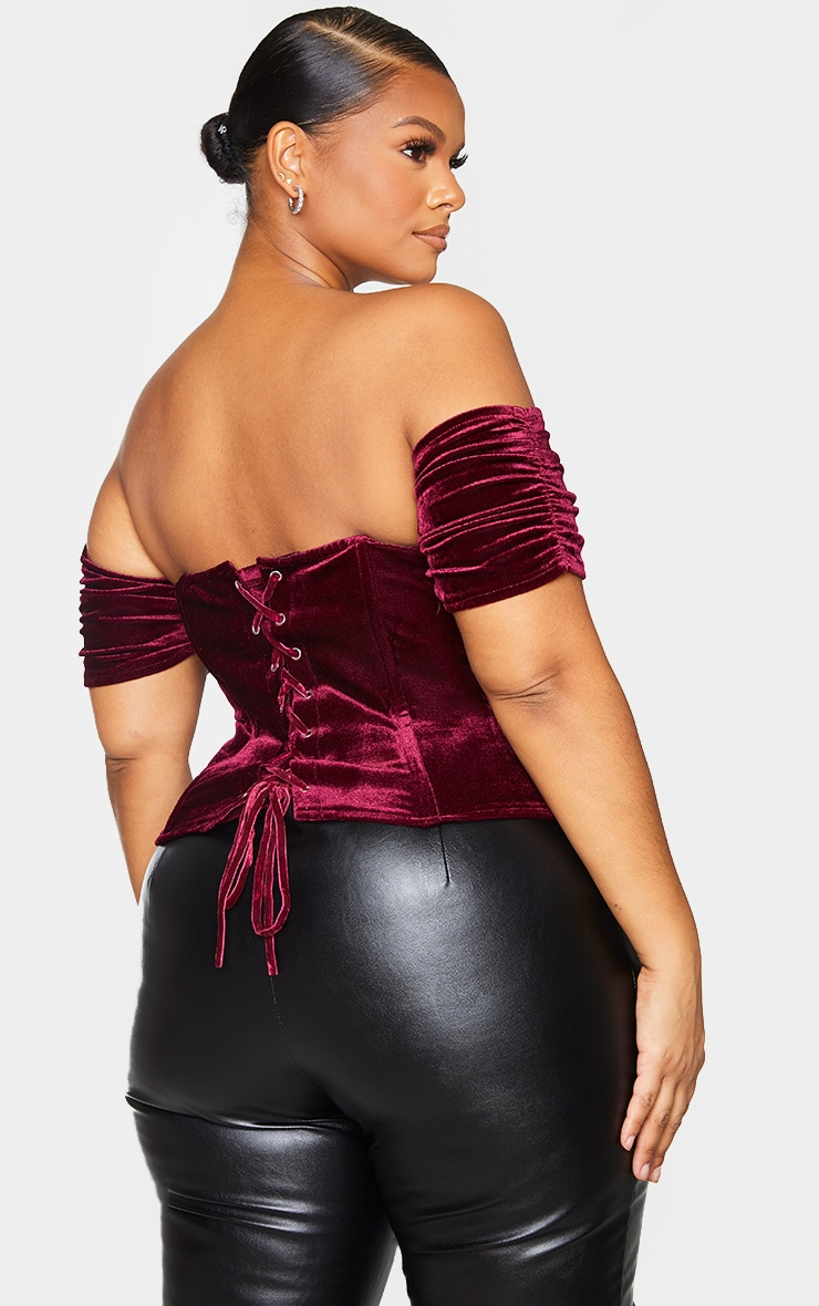 Plus Burgundy Velvet Lace Up Back Corset 2