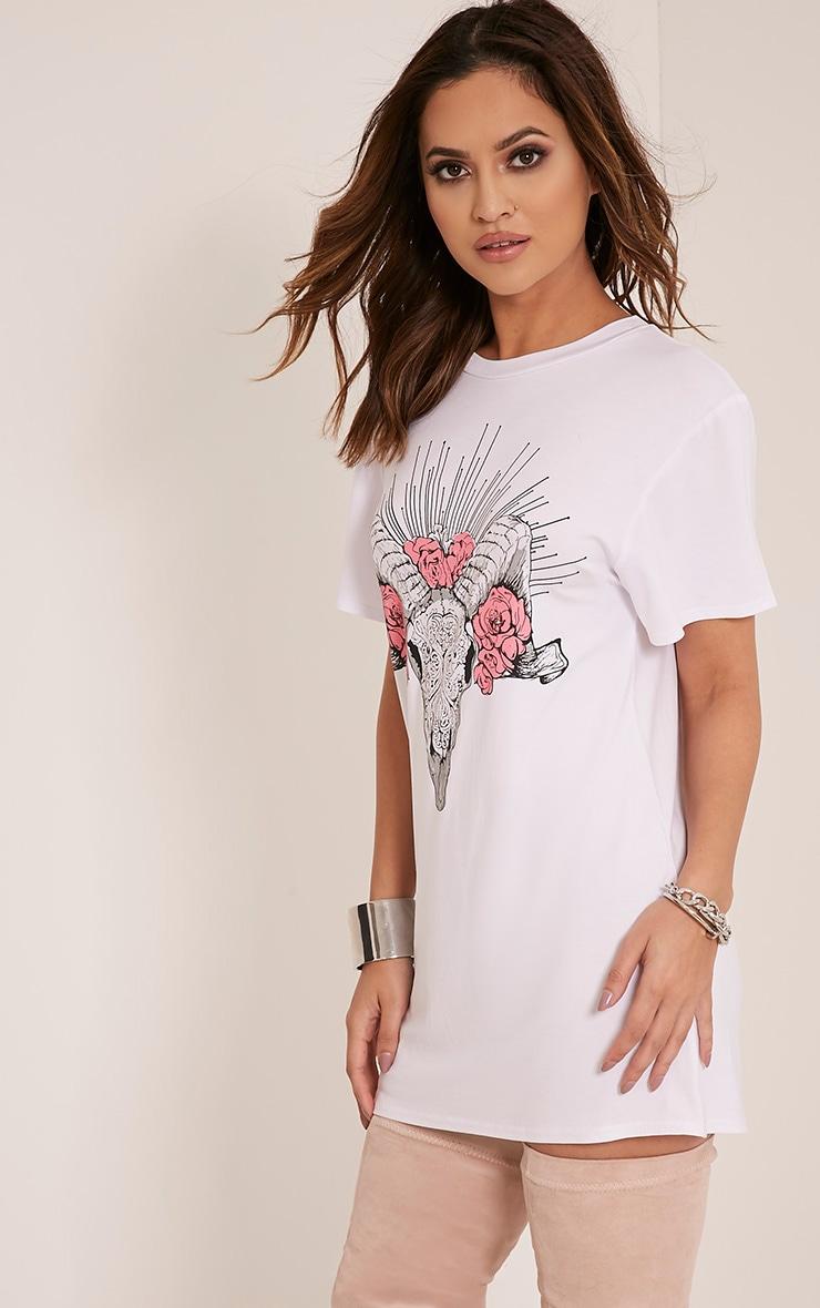Petite Ram Skull Flower Print White T Shirt Dress 2