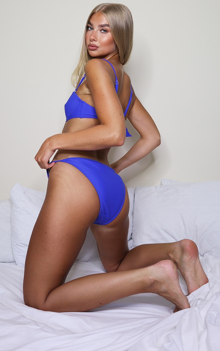 Cobalt Channel Detail Cheeky Bum Bikini Bottom 2