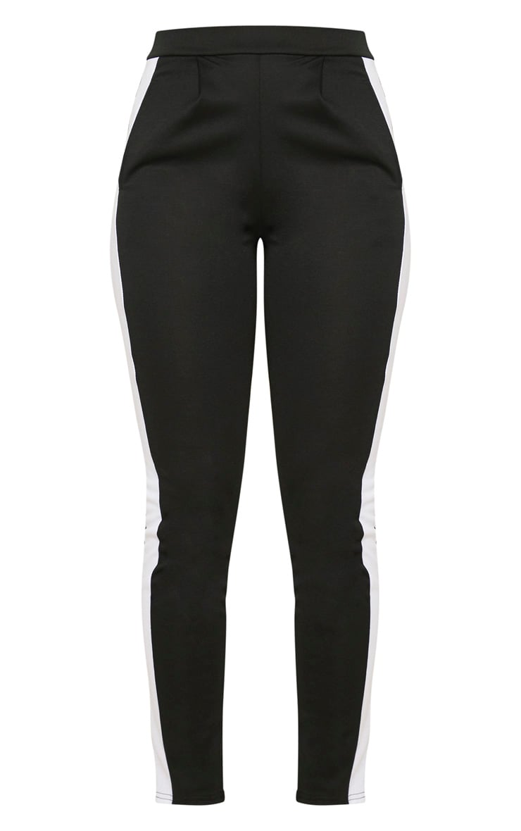 Black Ponte Contrast Side Stripe Trouser   3