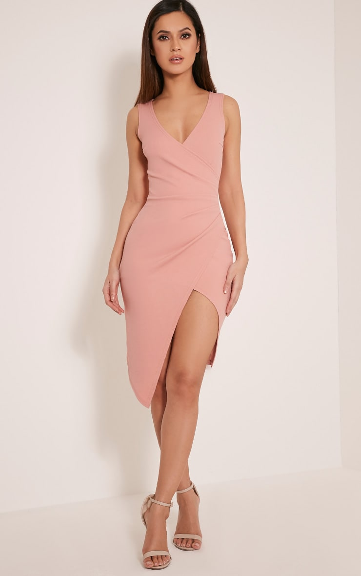 Karley Dusty Pink Wrap Front Crepe Midi Dress 10