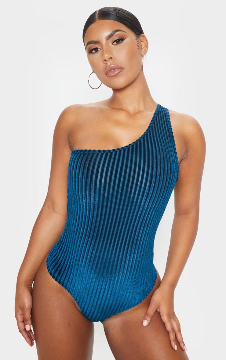 Teal Velvet Stripe One Shoulder Bodysuit 2