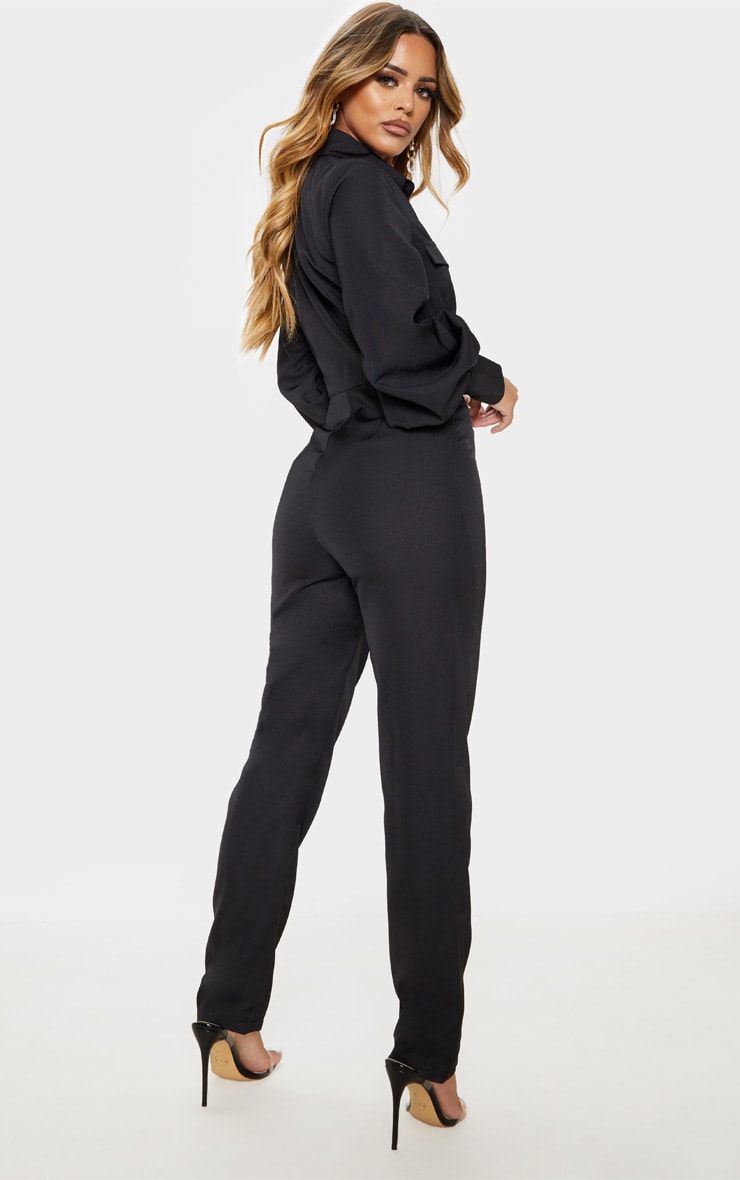 Petite Black Full Sleeve Pocket Detail Jumpsuit 2
