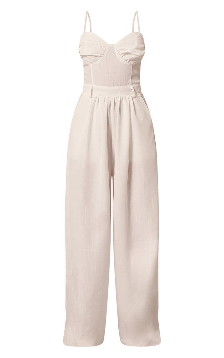 White Ruched Cup Strappy Wide Leg Jumpsuit 5