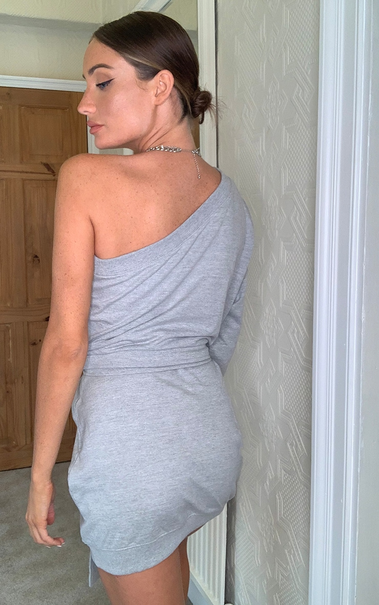 Grey One Shoulder Tie Waist Sweat Sweater Dress 2
