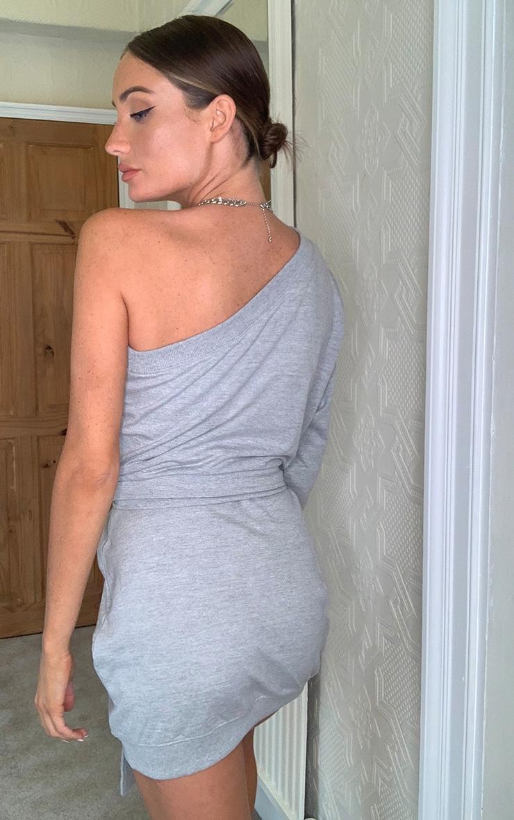 Grey One Shoulder Tie Waist Sweatshirt Dress 2