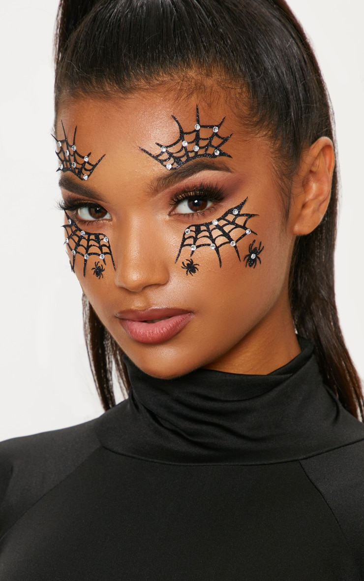 PRETTYLITTLETHING Diamante Cobweb Halloween Stickers