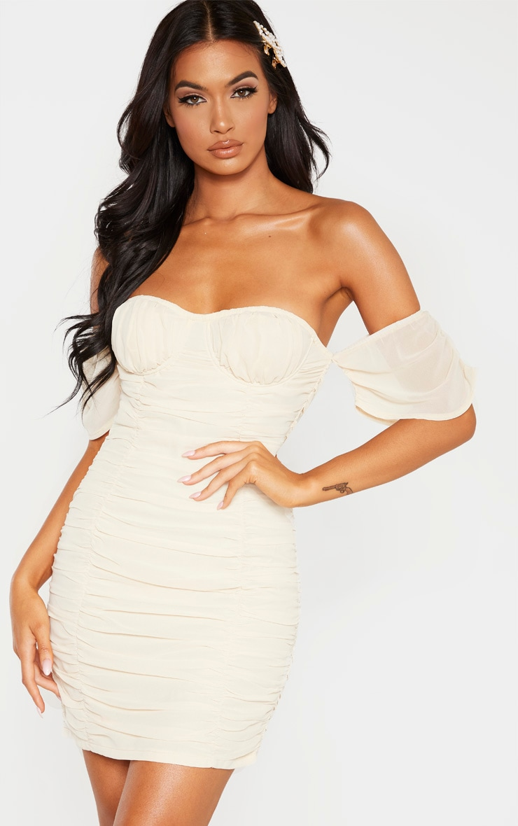 Stone Chiffon Ruched Cup Detail Bodycon Dress  1