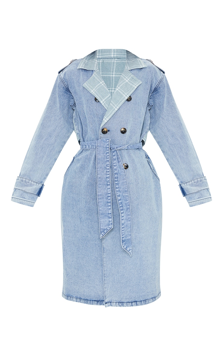 Vintage Wash Mixed Check Detail Longline Denim Trench Coat 5